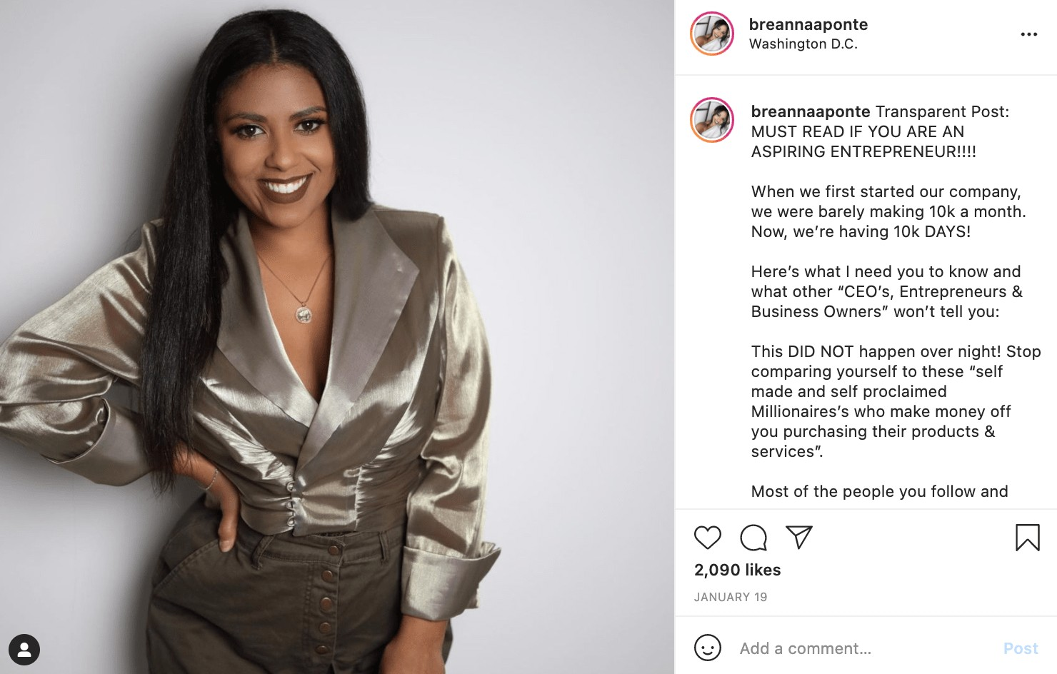 breanna ponte example of social media strategy for black-owned business
