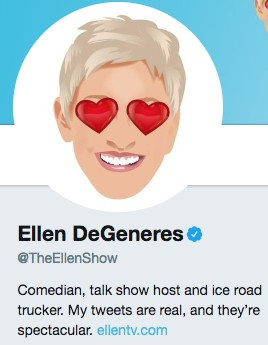 Funny twitter bio from @TheEllenShow