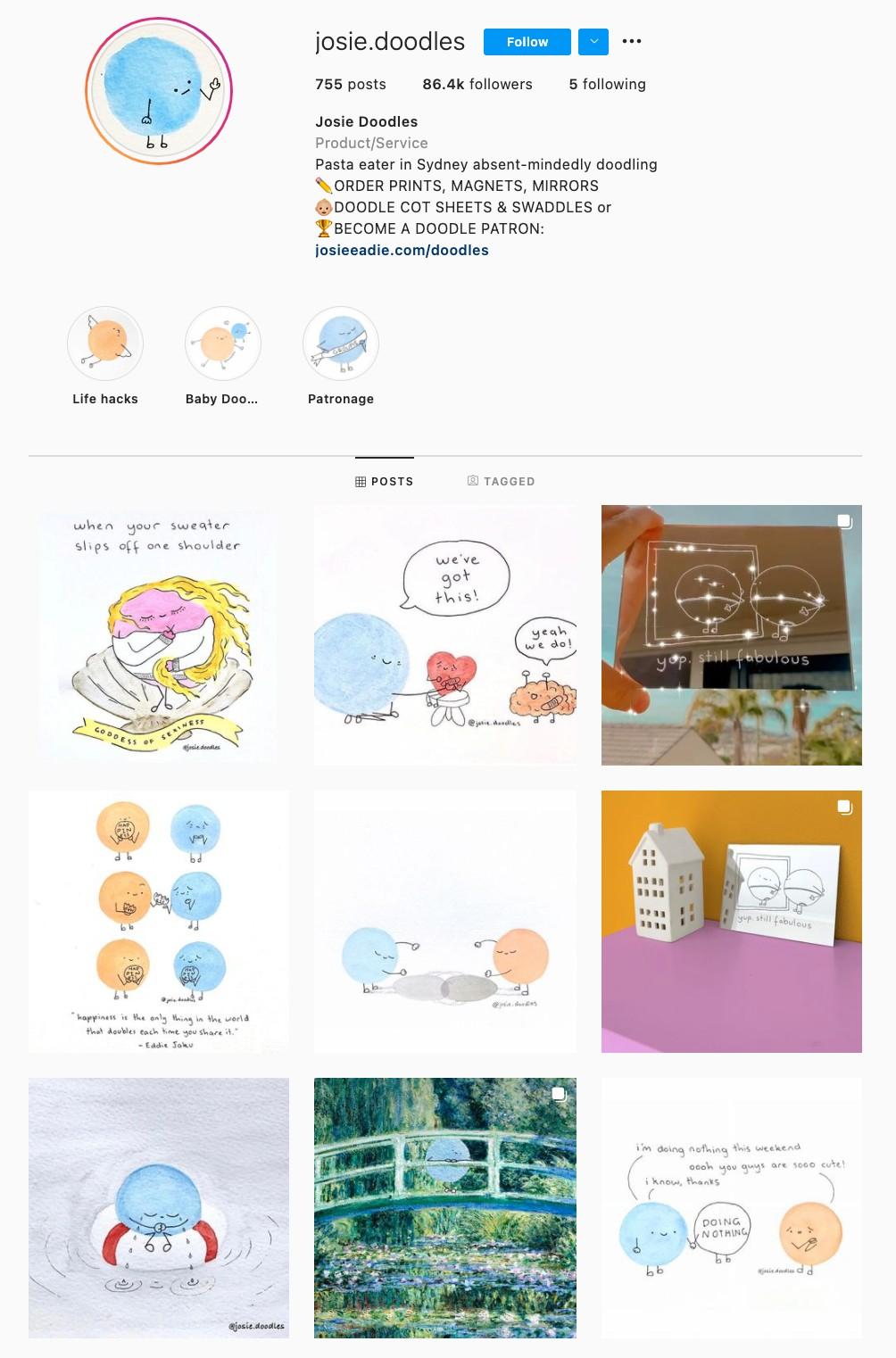 Doodle Instagram Theme Example