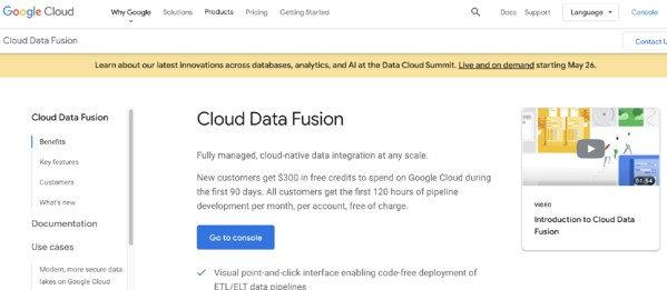 google cloud data fusion data ingestion and integration software example