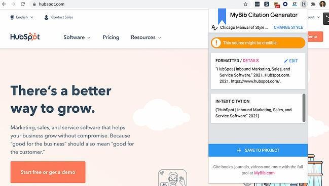 MyBib Chrome extension