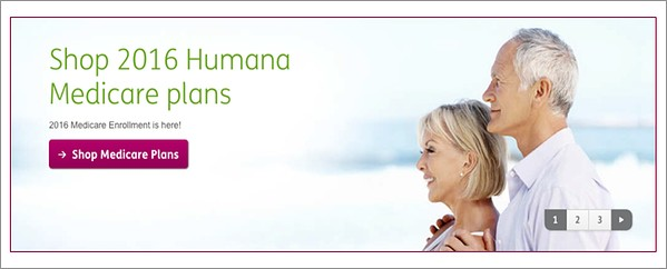 Humana uses a harder sell for its CTA on its landing page.