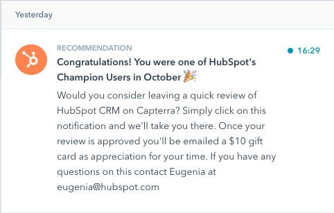 HubSpot's in-app notification to users requesting they leave a review.