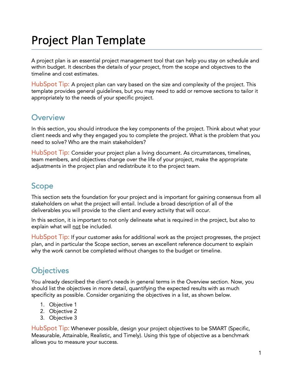 HubSpot Project plan template