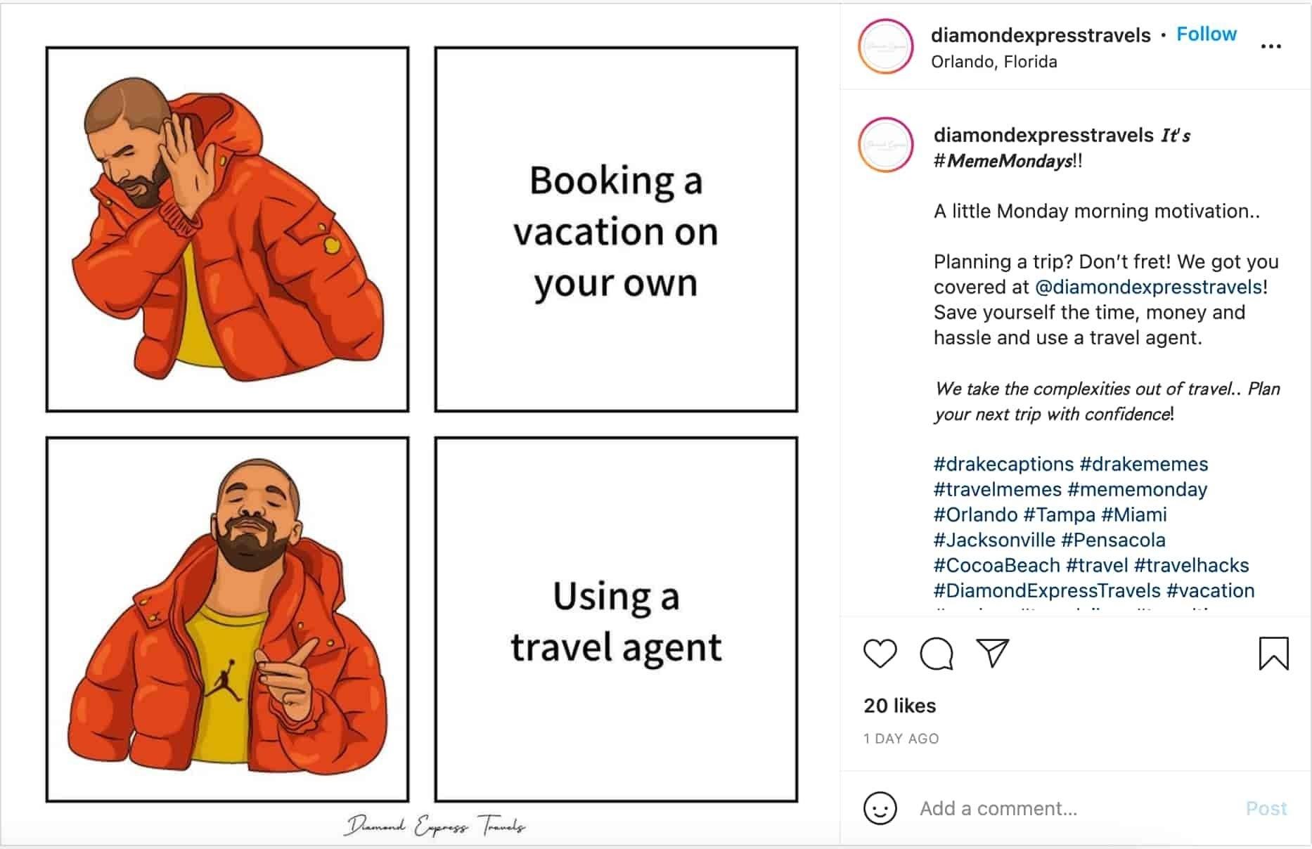 meme marketing example by Diamond Express Travels