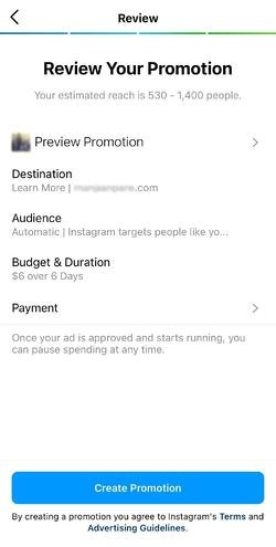 how to use instagram paid promotion: review promotion